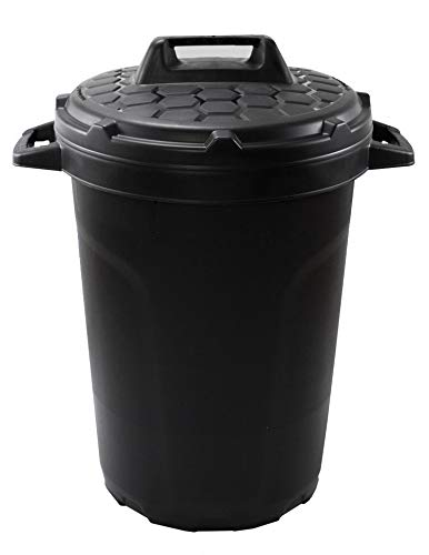 Universal Allzwecktonne Mülltonne Tonne Universaltonne Universaleimer schwarz mit Deckel Plastiktonne Regenfass Wassertonne Regenauffangbehälter 90 Liter Fassungsvermögen