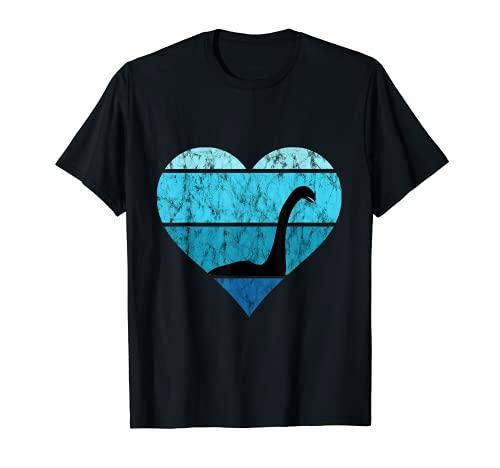 Nessie Heart Retro Vintage Ocean Irish Loch Ness Sea Monster T-Shirt