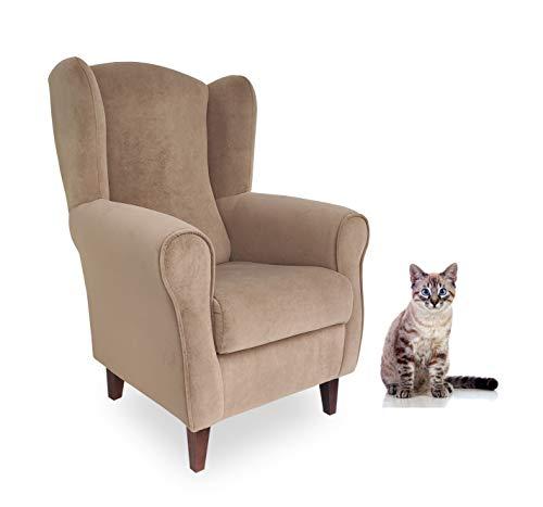 Butaca Antirañazos. Tela Especial para Gatos/Animales. Tela Antimanchas- Aterciopelada/Anti-Gatos (Medidas: 103 * 74 * 77 cm) Beige