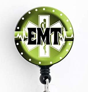 EMT Green Star of Life - Retractable Badge Reel with Swivel Clip and Extra-Long 34 inch Cord - Badge Holder/EMT/EMS