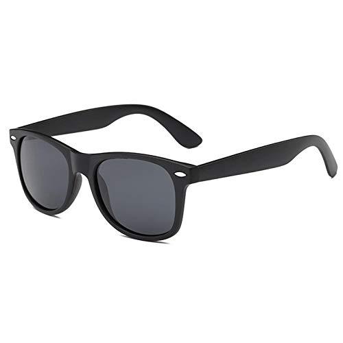 YDXC Moda clásica Gafas de Sol polarizadas Hombres conducción Espejo Revestimiento Puntos Tortoise Marco marrón Lente Gafas de Sol Macho UV400-Matte_Black_Black