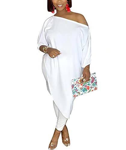 WOKANSE Women's 2 Piece Outfits Off Shoulder Loose Irregular Hem Top + High Waist Lounge Pant Suits Casual Cute Sets White XL