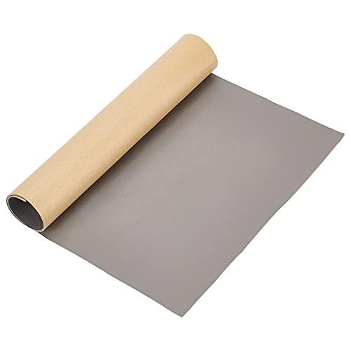 BENECREAT Parche de Reparación de Cuero Adhesivo 60x30cm para Muebles de Asiento de Coche y Sofá, (Gris, 0.8mm de Espesor)