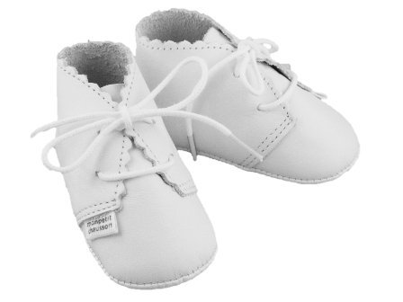 MON PETIT CHAUSSON Chausson chic blanc en cuir Taille 0/3 mois made in France
