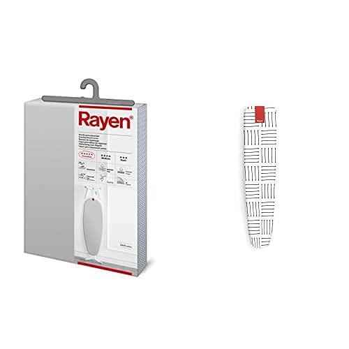 Rayen 6143.01 Funda para Tabla De Planchar, Muletón, Gris Claro, 130 X 47 Cm + Plancha-Mangas | Elástico | Funda con Capas De Espuma, 100% Algodón Y Recubrimiento De Titanio