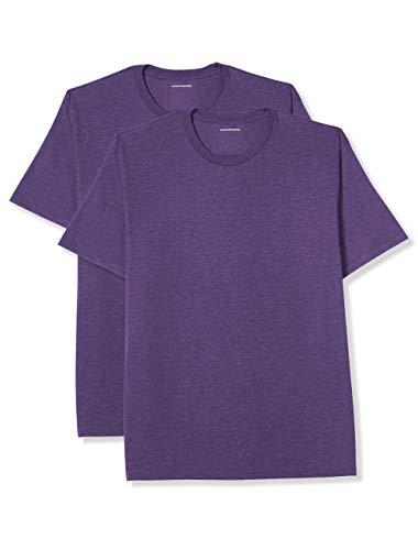 Amazon Essentials Men's Big & Tall 2-Pack Short-Sleeve Crewneck T-Shirt fit by DXL, Purple Heather, 5X Tall