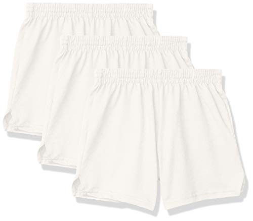 Soffe Girls' Authentic Cheer Short, White, Medium (3-Pack)