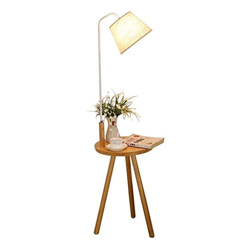 Beistelltisch mit Lampe, Modern Mid Century End Tabelle, for Wohnräume, Stativ Nachttisch, Natural Wood Holz, 55