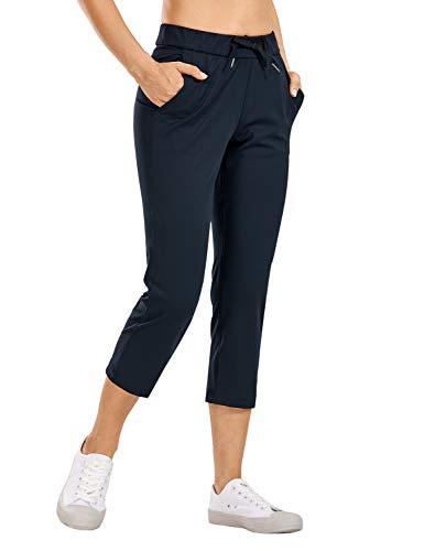 CRZ YOGA Femme Capri Pantacourt de Jogging Sport Pantalons avec Poches True Navy 36