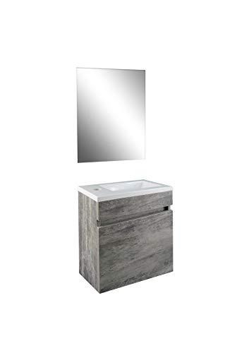 STARBATH PLUS Conjunto Mueble de Baño Suspendido MDF Lavabo Resina Espejo (Gris, 40 x 22 cm)