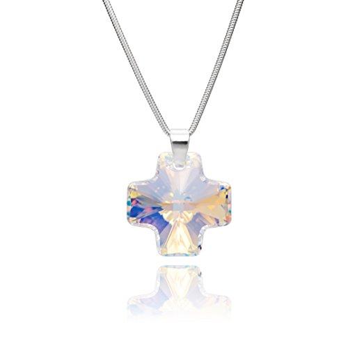LillyMarie Damen Silberkette Sterlingsilber 925 Swarovski Elements Kreuz-Anhänger Crystal Längen-verstellbar Geschenkverpackung Geschenk für Mama