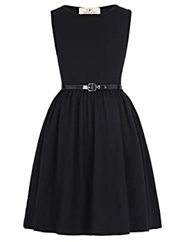 Sleeveless Black Vintage Dresses for Girls with Belt Aline 10-11yrs Cl990-1