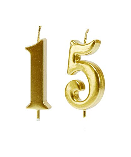 MMJJ Gold 15th Birthday Candles, Number 15 Cake Topper for Birthday Decorations
