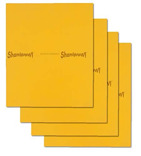 ShamWow The Original Super Absorbent Multi-Purpose Cleaning Shammy (Chamois) Tuch-Tuch, maschinenwaschbar, wird nicht kratzen, 4 Packung Orange