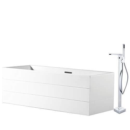 Vrijstaande badkuip NADI Pro in sanitair acryl - 170 x 75 x 60 cm - kraan optioneel, Sifon voor vrijstaand bad:Zonder Sifon, Mixer mengkraan:Incl. Standaard fitting 1523C