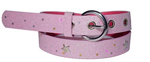 EANAGO Kindergürtel 'Superstar pink' für Mädchen (Kindergarten- und Grundschulkinder, Hüftumfang 57-72 cm), Gürtelmaß 65 cm, rosa/pink glitzernd (5-10 Jahre (65 cm))