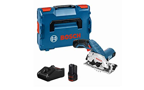Bosch Professional 06016A1070 GKS 12 V-26 Cordless Circular Saw with 2 x 12 V 2.0 Ah Lithium-Ion Batteries, L-Boxx, Navy Blue