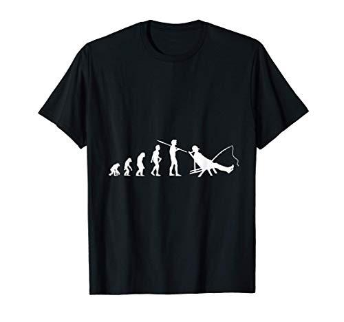 Angler Evolution Anglen Fischer Fischen Angelrute Geschenk T-Shirt