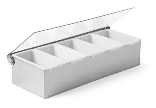 HENDI Zutatenbehälter, Edelstahl mit transparentem Polypropylen Kunststoffdeckel, mit 5 weißen Polypropylen Kunststoffeinsätzen, 375x140x(H)90mm