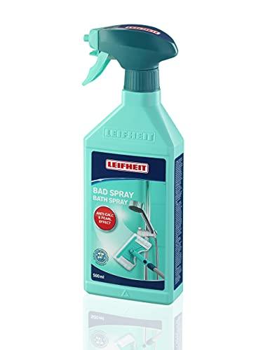Leifheit Badspray, Badreiniger 500 ml, mit spezieller Anti-Kalk-Funktion und Perleffekt, Kalkreiniger, Putzmittel für Dusche, Glas und Fliesen, praktisch nachfüllbare Sprühflasche