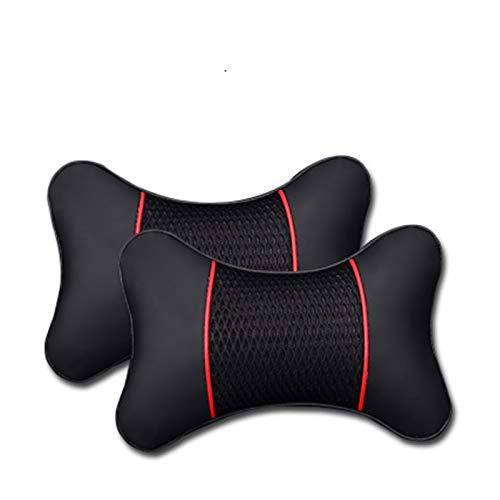 Sun Can 2 unids PU cuero hechos punto almohadas almohadas reposacabezas cuello de descanso amortiguador soporte asiento accesorios auto negro de seguridad almohada universal decoración universal