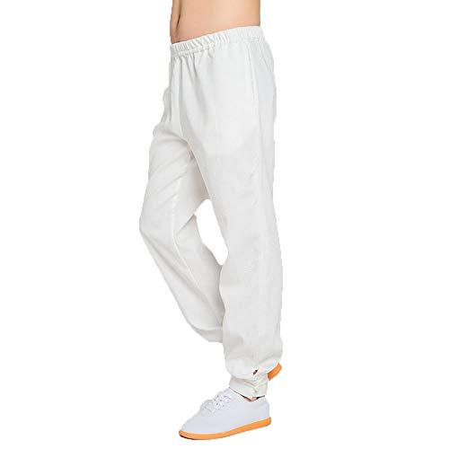 Tai Chi Pantalones Lino Mujer Y Hombres Tradicional Ropa De Wu Shu Transpirable Ligero Suave Kung Fu Uniformes Artes Marciales Entrenamiento Traje Meditación Zen De Viento Chino,White-M
