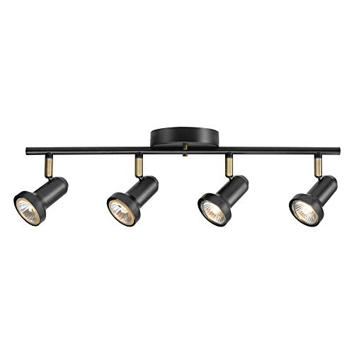 """Globe Electric 59443 Melo 4 Track Lighting, Antique Brass Accents, Bulbs Included, 5.31"""", Dark Bronze"""