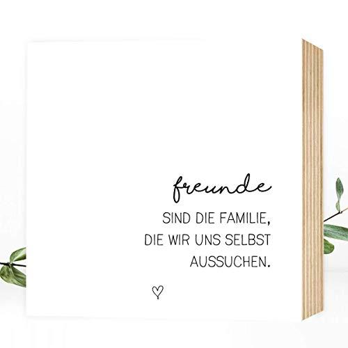 Wunderpixel® Holzbild Freunde sind Familie - 15x15x2cm zum Hinstellen/Aufhängen, echter Fotodruck mit Spruch auf Holz - schwarz-weißes Wand-Bild Aufsteller Zuhause Büro zur Dekoration Geschenk-Idee