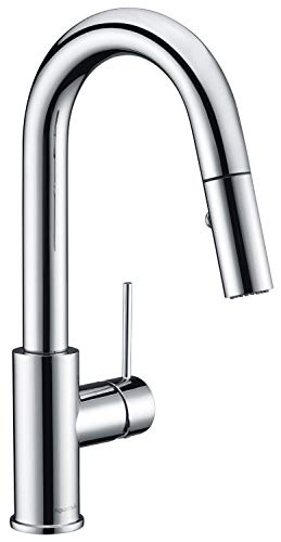 AguaStella AS59CH Chrome Bar Faucet or Prep Kitchen Sink Faucet with Pull Down Sprayer and Single Handle