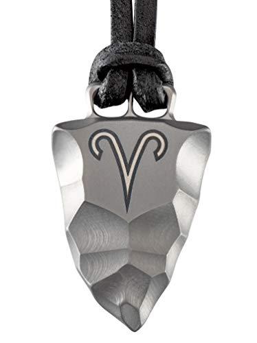 D-Vision-Jewelry Herrenkette Herrenschmuck Halskette Titan Faustkeil Sternzeichen Widder Amulett Lederband handgearbeitet (60)