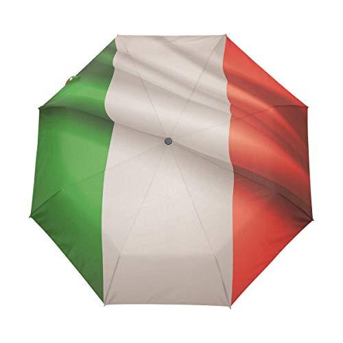 MONTOJ Regenschirm mit Italienischer Flagge, 3-Fach faltbar, UV-Schutz mit automatischem Öffnungsknopf