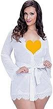Tradico® 4 Colours Plus Size 5XL 2016 Women Lingerie Lace Trim Robe with Thong 2 Piece Set Underwear Sleepwear v Neck Bind Nightgown White 4XL