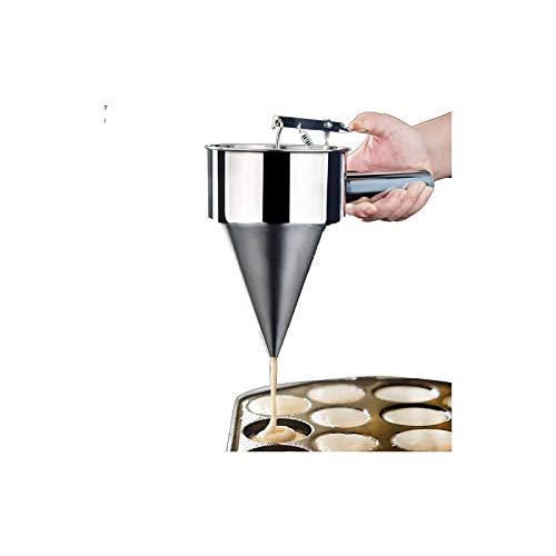 Fuoliystep - Embudo para Pasteles, Embudo para Hornear De Acero Inoxidable, Dispensador De Masa para Panqueques Y Gofres, Embudo De Cocina Utilizado para Dispensar Masa De Crema De Chocolate