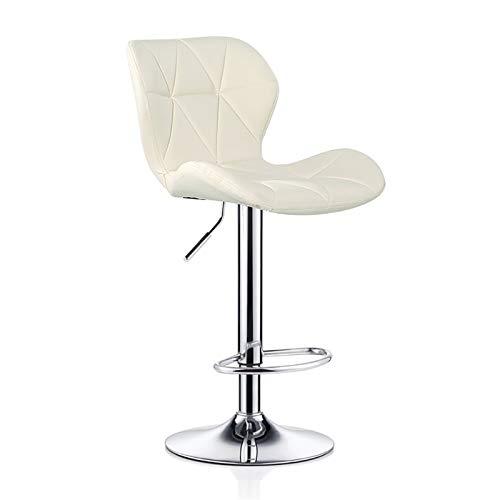 SHOP YJX Frühstück sichel Stuhl Stühle höhenverstellbar Rückenlehne stark basische Chromplatte for eine Küche 120Kg maximale Last bar (Color : Off White, Size : 60-80cm)