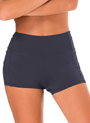 Ouber Damen Booty Shorts Workout Yoga Dance Gym Gewichtheben Crossfit Short - Grau - Klein