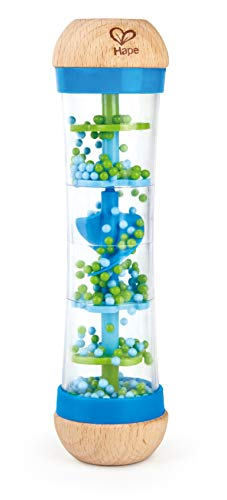 Hape Beaded Raindrops | Mini Wooden Musical Shake & Rattle Rainmaker Toy, Blue, Model Number: E0328B ,L: 2, W: 2, H: 7.9 inch
