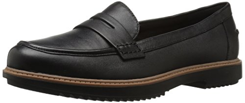 Clarks Women's Raisie Eletta Penny Loafer, Black Leather, 7 W US