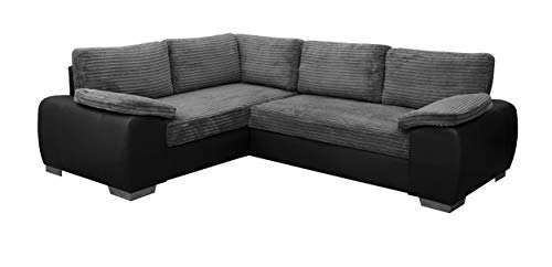 ENZO - CORNER SOFA BED WITH STORAGE - JUMBO CORD FABRIC LEATHER - LEFT HAND SIDE ORIENTATION (GREY AND BLACK)