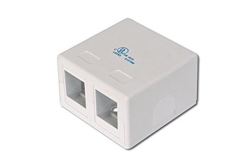 DIGITUS Anschlussdose - 2 Port - Für Keystone-Module - Konsolidierungspunkt Aufputz-Gehäuse - Netzwerk-Dose - Weiß