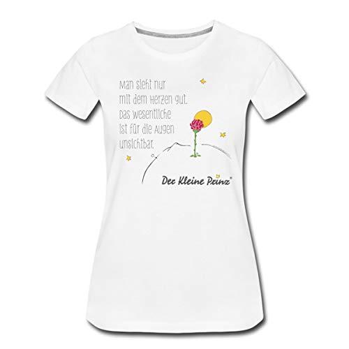 Der Kleine Prinz Zitat Man Sieht Mit Dem Herzen Frauen Premium T-Shirt, XL, Weiß