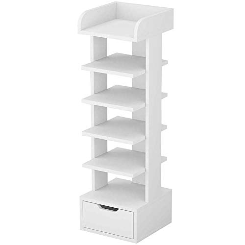 Shoes Rack Organizer 6 Tiers Wooden Shoe Storage Stand with Drawer Vertical Storage Shelf White