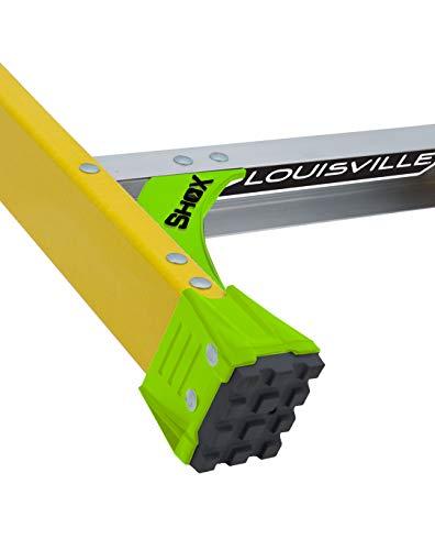 Louisville Ladder 8 ft FXS1408HD 2-in-1 Duty Rating Shelf Fiberglass Cross Step Ladder 375 lb Type IAA, 8', Yellow