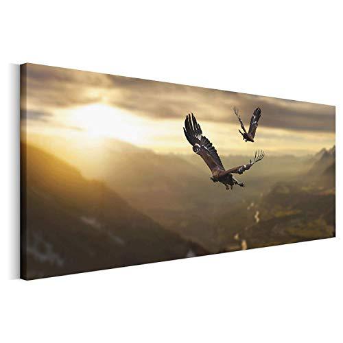 Revolio - Cuadro en Lienzo - Imágen Panorámica - Impresión artística - Decoracion de Pared - Tamaño: 70 x 25 cm - pájaro Cielo Amarillo