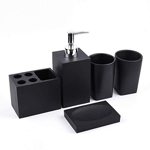 Ayes, set di accessori da bagno in resina, set di accessori da bagno europei, set di accessori per il bagno, con porta spazzolino da denti e portasapone (nero opaco)