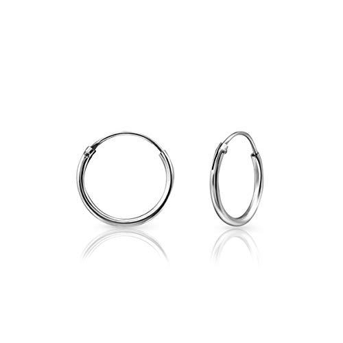 DTPsilver® KLEIN Creolen Ohrringe 925 Sterling Silber - Knorpel/Wendel/Tragus - Dicke 1.2 mm - Durchmesser 12 mm