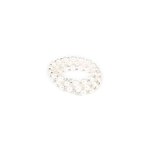 Pixnor Armbänder Fashion Hochzeit Braut Klar Perle Kristall Strass 3 Reihen Strecken elastischen Armreif