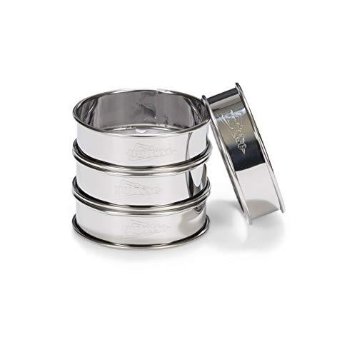 Accesorios incluidos: 4pcs CÍRCULOS tarta bordes de acero laminado Color: Plata Contenido del kit : 4 Descripción del producto: Set de 4pcs CÍRCULOS tarta bordes laminados de acero inoxidable Dimensiones: 8 x 2.5 cm Esta tarta cuadrada permite realiz...