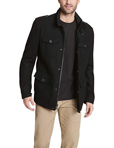 Dockers Men's Wool 4 Pocket Military Jacket, Black, Medium