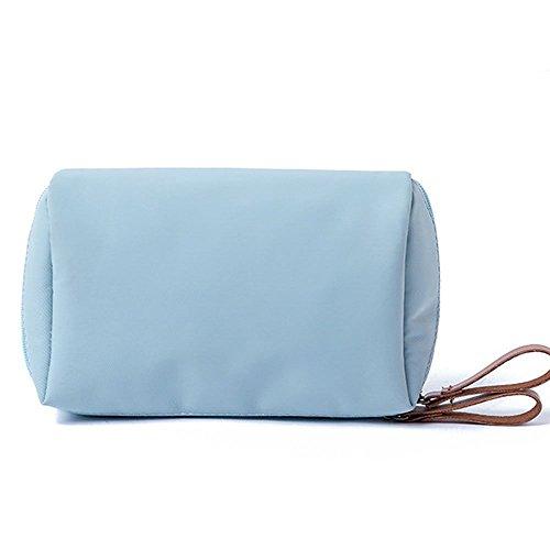 Zoomlie Trousse de maquillage portable simple et solide en nylon de grande capacité, organiseur de voyage - Bleu - Taille unique