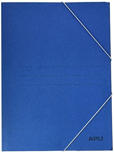 APLI-Carpeta con gomas tamaño folio 3 solapas color azul